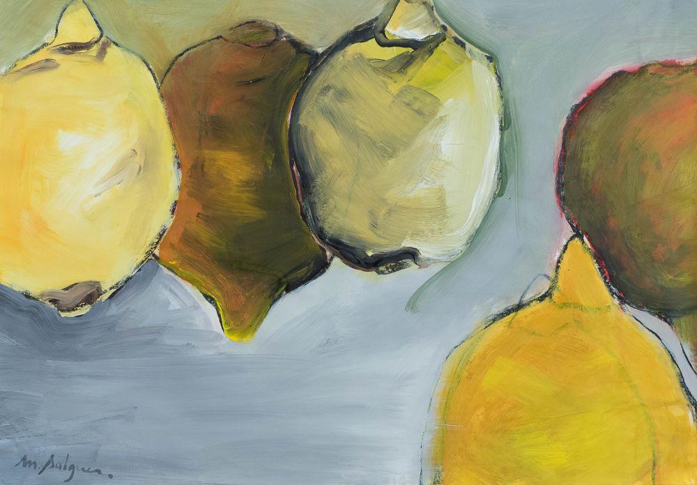 Cinq citrons jaunes sur fond gris
