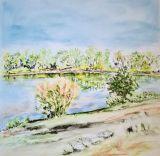 Oeuvre lac Miribel lumière estivale - Artiste Cathy Durand
