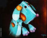 """oeuvre de l'artiste VIGNAUX Stephanie : C'est l'histoire d'un chien bleu """"Marin""""  -  © Stephanie VIGNAUX"""